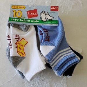 Hanes Boys Toddler Ankle Socks 10 Pack